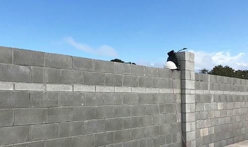 Block and Plaster Block Wall