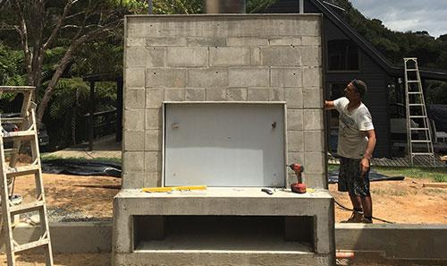 Masonry Structure with Herringbone Brick Fireplace & STO