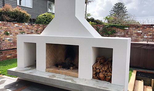 Block and Plaster Fireplace